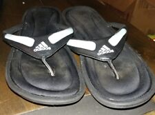 womens black /blue 'Adidas' FitFoam footbed slip on toe sandals/flip flops siz 8