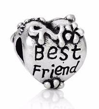 Silver Charm Bead BEST FRIEND Large hole bead. Fits European Bracelet C104