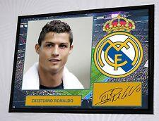 Cristiano Ronaldo Real Madrid Enmarcado A3 Lona Impresión Firmada Ltd Edition