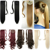 Long Layered Ponytail Clip in as human Hair Extensions wrap around claw Ponytail