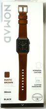 Nomad Leather Watch Band for Apple watch 38mm/40mm, Rustic Brown With Black Lugs
