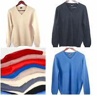 100% Cashmere Sweater Mens Jumper Pullover Ladies Long Sleeve V-Neck M,L,XL,XXL