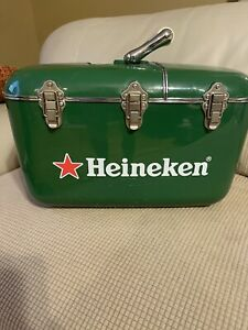 Heineken Coolbox Hard Case Cooler, Portable Radio/CD Player Wks Good No Antenna