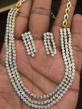 2.70 Cts Natural Diamonds Necklace Earrings Set In Fine Hallmark 14K Yellow Gold