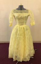Antique Dress 1940's Yellow Lace Dress Long Sleeve Full Skirt Tulle Sateen
