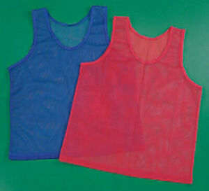 "24 Mesh Scrimmage 41"" Youth Team Jersey Sport Practice Red Blue Pinnies Vest Lot"