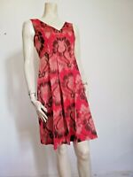 TORY BURCH DRESS SIZE 2 RED ABSTRACT VISCOSE/POLYESTER