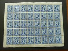 GB  1942 George VI 10/- ultramarine sheet of 40  SG 478b  Unmounted mint/MNH