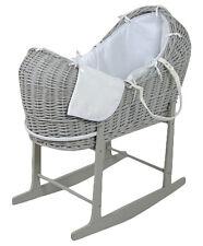 Clair de Lune Baby Moses Basket - Grey/White