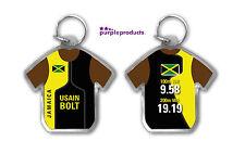 USAIN BOLT JAMAICA 100m 200m WORLD RECORD SHIRT SHAPED ACRYLIC KEYRING