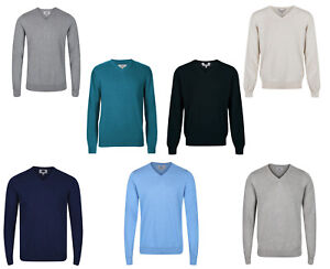 EX M&S Mens Jumpers V Neck Cotton Sweaters Sweatshirt EX Marks & Spencer New