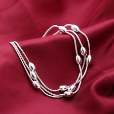 925 Silver Heart Charms Bracelet Beads Chain Ball Bangle Womens Girls Gift