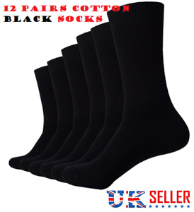 12 PAIRS MEN'S ADULTS BLACK COTTON RICH HIGH QUALITY SOCKS UK SIZE 6-11  GQRK