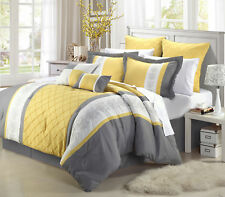 Queen Bedding Set 12-Piece Bed in a Bag Comforter Yellow White Grey Pillows