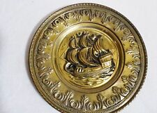 BRASS PLAQUE PLATE WALL HANGING NAUTICAL GALLEON SHIP ENGLAND