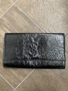 AUTH YSL YVES SAINT LAURENT black patent leather BELLE DE JOUR clutch Good