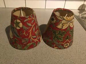 Pair Of Handmade William Morris Strawberry Theif Candle/ Clip Lampshades