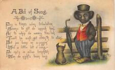 A BIT OF SONG MAN DOG UMBRELLA BLACK AMERICANA POSTCARD (c. 1910)