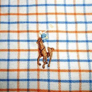 17-32/33 Polo Ralph Lauren BLUE/ORANGE/WHITE Oxford Dress Shirt 100% Cotton PRL