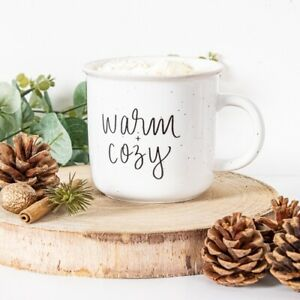 Warm and Cosy Mug Ceramic Black Off White Cup Coffee Tea Cute Speckled Home Chic