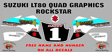 suzuki lt80 quad graphics stickers decals name & number lt80 laminate white rock