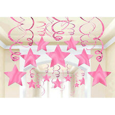 30 Pink Shooting Star Swirl Decoration Graduation Wedding Birthday Party Supply
