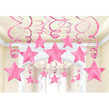 30 Pink Shooting Star Swirl Decoration Graduation Wedding Birthday Party Supply