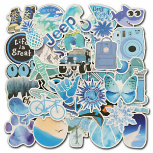 50Pcs Blue Vsco Stickers bomb Skateboard Luggage Laptop Guitar Decals Pack Lot