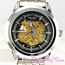 Automatic Mechanical Skeleton Steampunk Vintage Look Silver & Black Unisex Watch