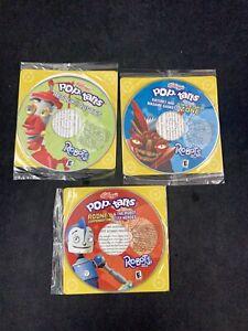Complete Set Of 3 Kelloggs Pop-Tarts Robots CD-Rom Windows 2005 Discs NEW Sealed