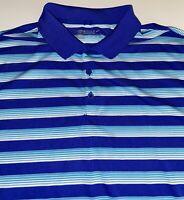 Nike Golf Dri Fit Tour Performance Men's Blue Stripe Short Sleeve Polo XXL 2XL