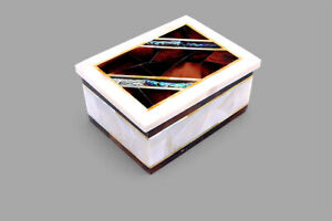Random Work Inlaid Marble Jewelry Box Mop Inlaid Box can be uses as gift for her