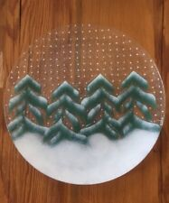 "Fused Art Glass Plate Christmas Pine Trees Snow Signed ESKA Vintage 11.5"" Winter"