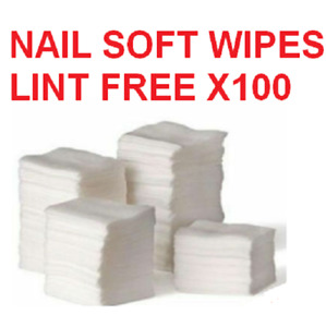 100 x NAIL SOFT WIPES ART GEL ACRYLIC POLISH REMOVER PEDICURE MANICURE LINT NEW