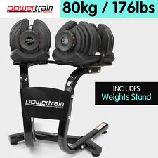 Powertrain 80kg Adjustable Dumbbell Set W Stand Home Gym Exercise Weights