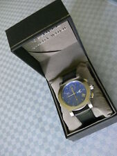 New Tool Time Men's Chronograph Watch Blue Dial Leather Strap Japan Movement