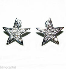 Large Huge Star Earrings 19MM Iced-Out Hip Hop Bling Silver Tone Stars Stud Post