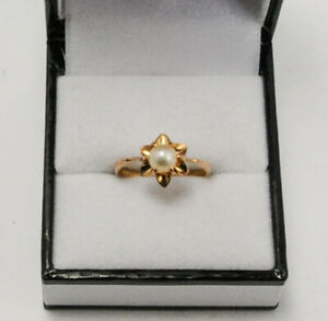 18ct Yellow Gold Cultured Pearl Ring Size L