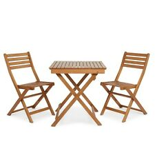 Garden Table and Two Chairs Outdoor Folding Furniture Wooden Bistro Set Patio