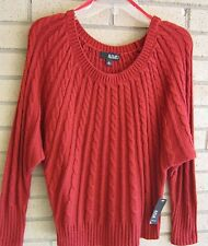 a.n.a. Ladies Rustic Red LS Sweater PL Petite Large Kim Rogers $44 NWT
