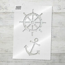 Ships Wheel & Anchor Wall STENCIL. Reusable nautical pirate stencil design 10004