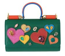 2c6a93b51873 NEW  1600 DOLCE   GABBANA Bag Purse Sicily VON Green Leather Crystal Heart  Hand
