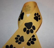 """Yellow Animal Paw Prints Grosgrain 7/8"""" Ribbon for Hairbows Crafts or Sewing"""