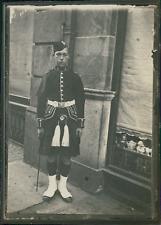Écosse, Édimbourg, Militaire écossais en uniforme kilt, ca.1900, Vintage silver