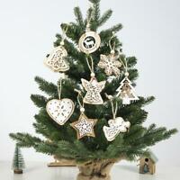 Wooden Craft Christmas Tree DIY Decor Hanging Pendant Angel Snowflake Ornament