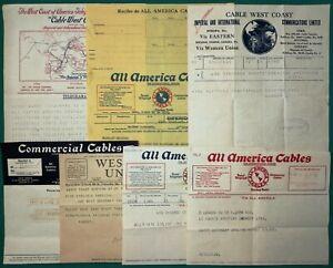 Lotto di 7 telegrammi (America Cables, Cable West Coast, Western Union) - 1933