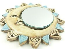 """Vintage  Sun/Moon With Mirror Hanging Wall Art. Hand Done 10.5x10.5"""""""