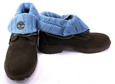 Timberland Shoes Roll Top Knit Wool Blue/Chocolate Brown Boots Men 4 Womens 6