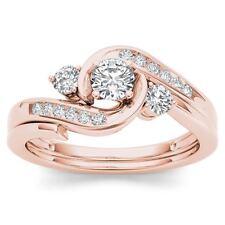 IGI Certified 10k Rose Gold 0.50 Ct Diamond Three Stone Engagement Ring Set