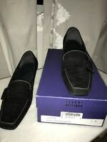 EUC $198 Stuart Weitzman Women Kitten Heel Loafers Sze US 8 Black Suede Lexicon